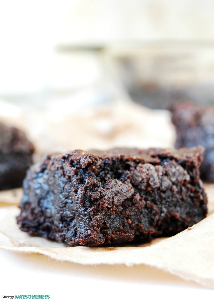 Fudgy vegan brownies. Dessert recipe by AllergyAwesomeness.com