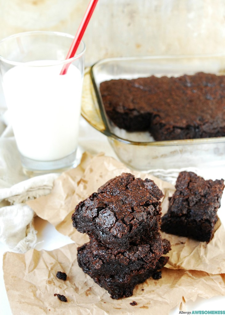 Chewy allergy friendly brownies. Dessert recipe by AllergyAwesomeness.com