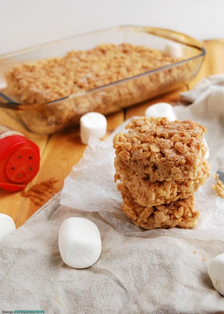 Churro Rice Krispie Treats Dessert Recipe by Allergy Awesomeness