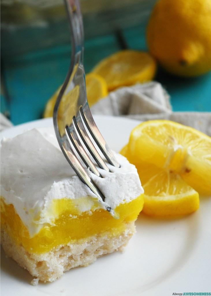 Allergy-friendly Lemon Cream Pie Bars Dessert Recipe by AllergyAwesomeness
