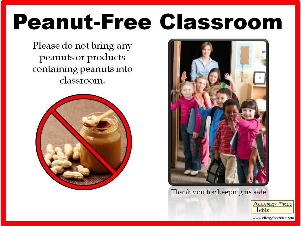 Peanut-free classroom sign - Large