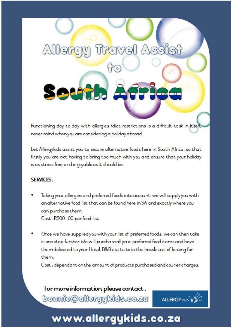 Allergy Travel Assist to South Africa