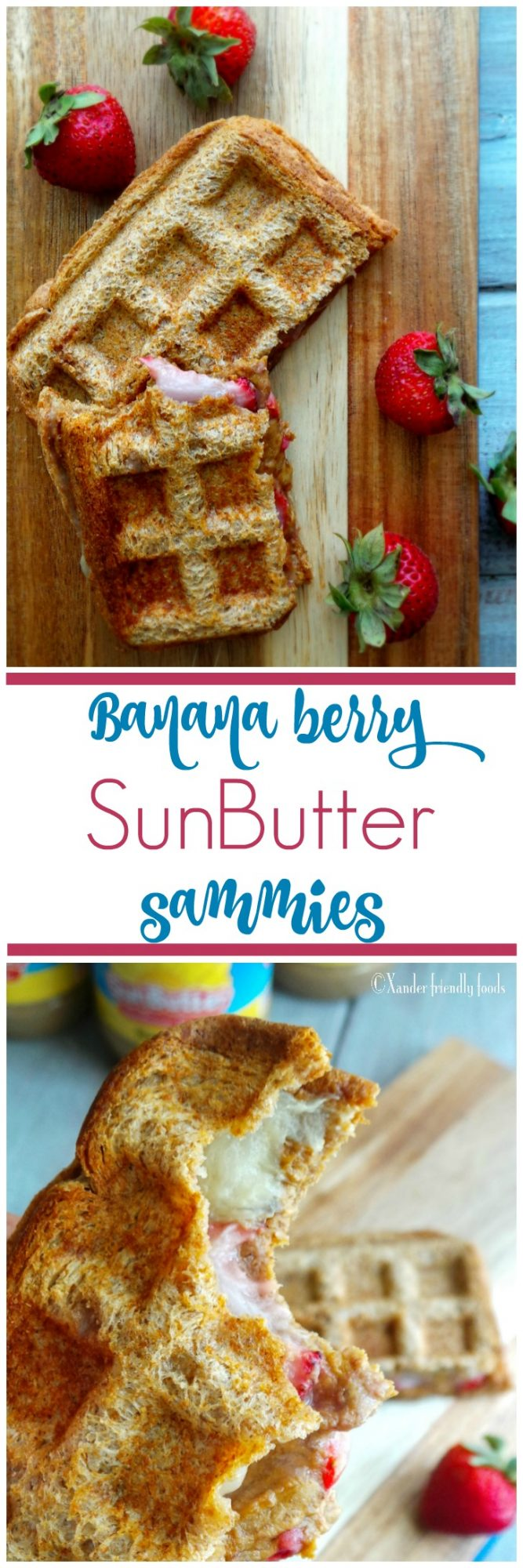 SunButter and bananas is such a classic combination but when you heat it in the waffle iron with a layer of strawberries in the middle, it's simply the best. If you're looking for an easy, yet decadent, allergy-friendly breakfast, brunch, or binge-watching snack, make this.