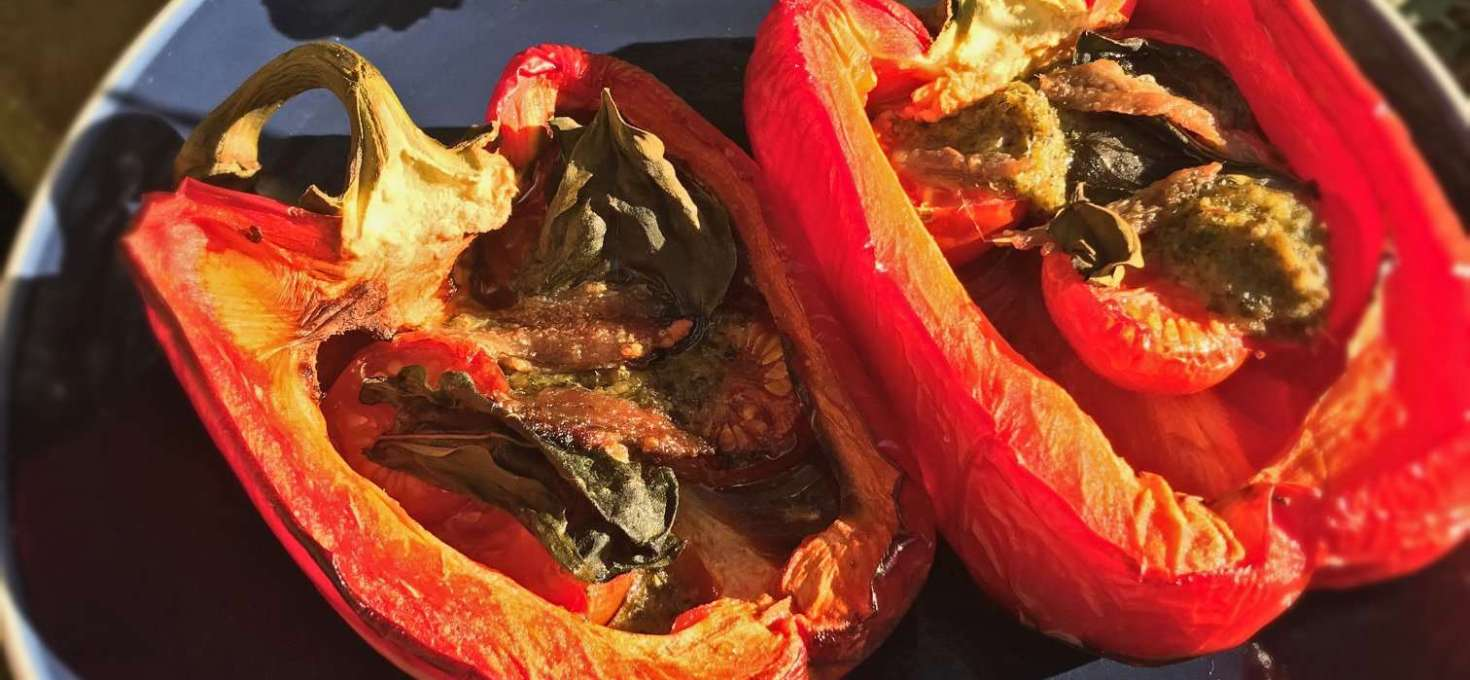 Roast Peppers with Pesto, Basil and Anchovies