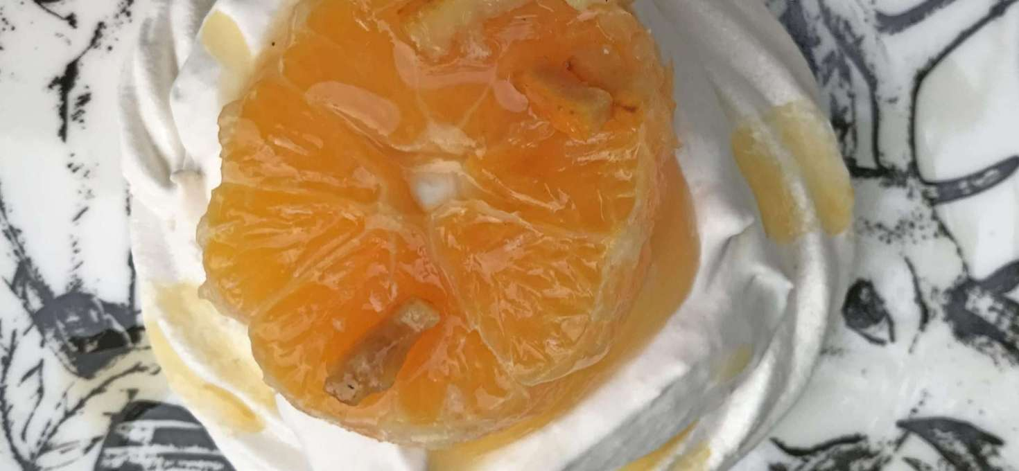 Vegan Pavlova with Triple Sec Oranges