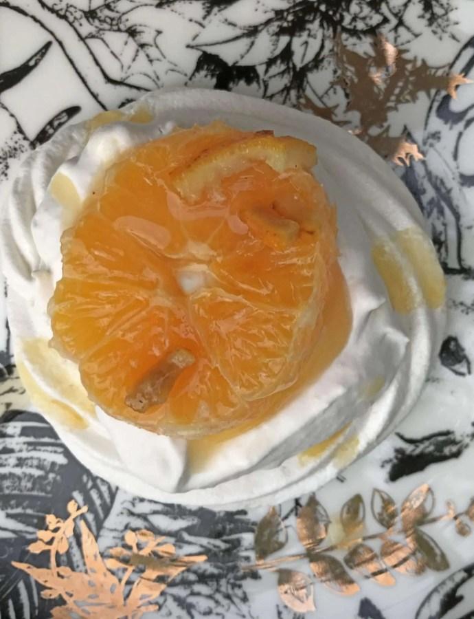 Vegan Pavlova with Triple Sec Oranges