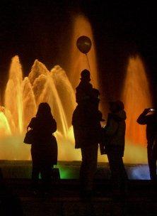 Brunnenlichtspiel in Barcelona