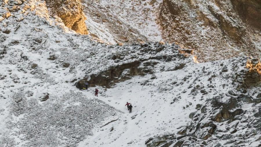 Wanderer auf dem Weg zum Gipfel des Iztaccíhuatl