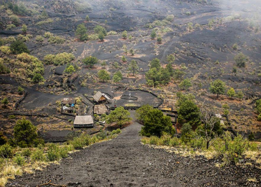 Blick vom Vulkan Paricutin nach unten.