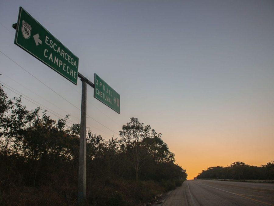 Straßenschild am Highway von Yucatan