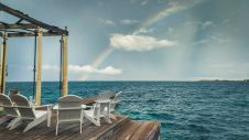 Regenbogen am Steg der Tauchschule auf Utila