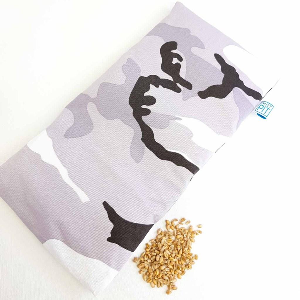 Pittenzak – warmtekussen en  coldpack legerprint in grijstinten
