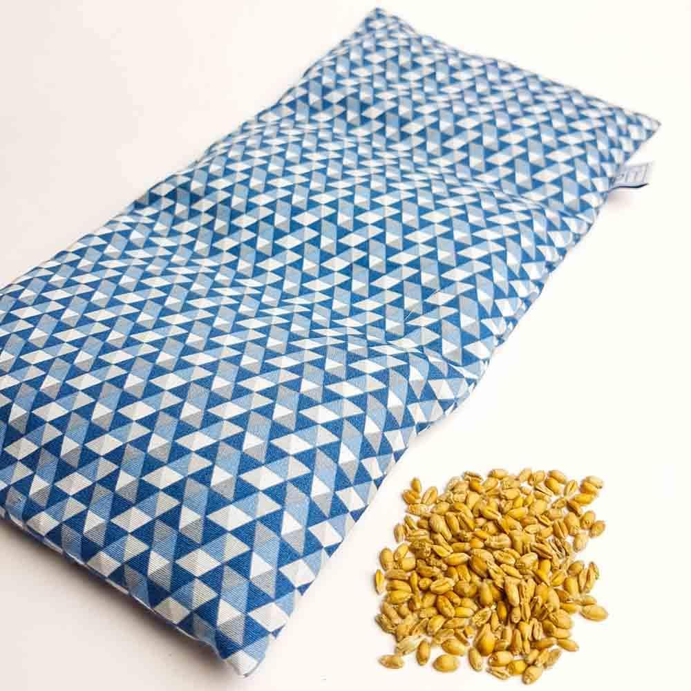 Pittenzak – warmtekussen en coldpack Blauw driehoekjes