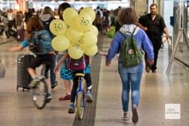 Auf dem Einrad ist dieser junge Fan der Radstation unterwegs. (Foto: Michael Bührke)