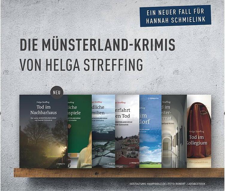 7 Krimis mit der Ermittlerin Hannah Schmielink hat Helga Streffing schon veröffentlicht, sie schreibt gerade am 8. Band. (Foto: Dialogmedien Münster)