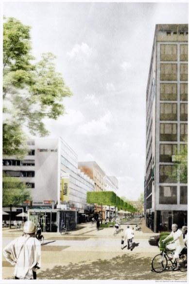(3) Auf dem Teilstück zwischen Bahnhof und Von-Vinke-Straße soll mittig ein Grünstreifen entstehen. (Grafik: Büro Lohaas & Carl)
