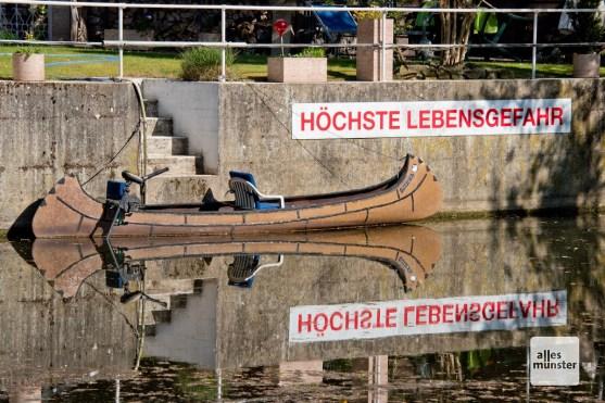 Warnung bei der Pleistermühle (Foto: Michael Bührke)