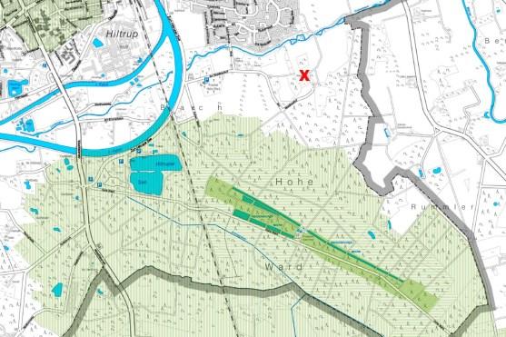 Der geplante Stall befindet sich in unmittelbarer Nähe zum Wasserschutzgebiet. (Kartengrundlage: Umweltkataster der Stadt Münster)