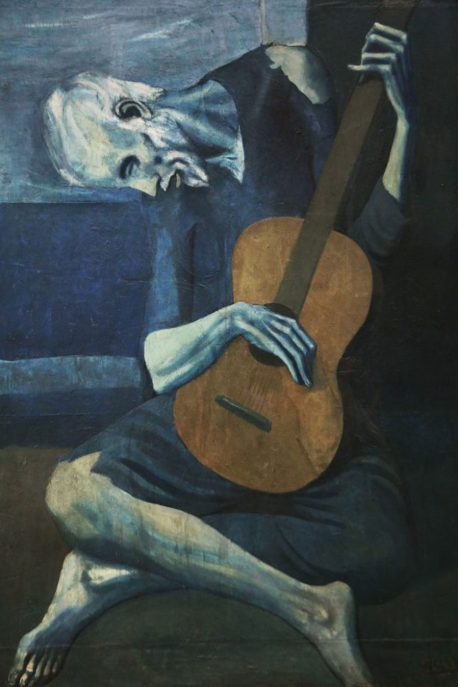 The Old Guitarist 683x1024 - TOP 10 MOST FAMOUS ICONIC PAINTINGS BY PABLO PICASSO
