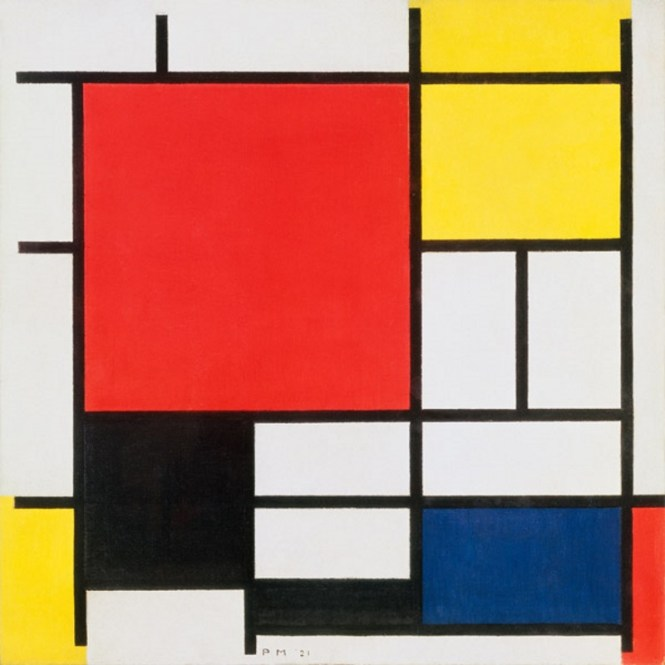 Compositie 2 in Rood Blauw en Geel - TOP 10 MOST FAMOUS PAINTINGS BY PIET MONDRIAAN
