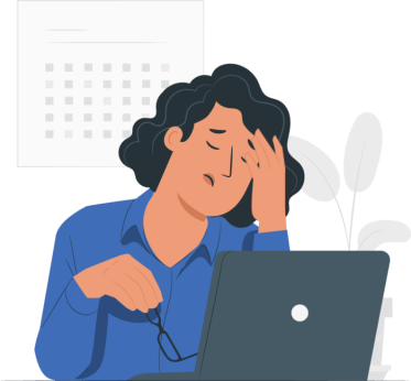illustration of a frustrated woman on her laptop