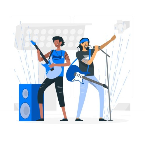 illustrated two-person rock band