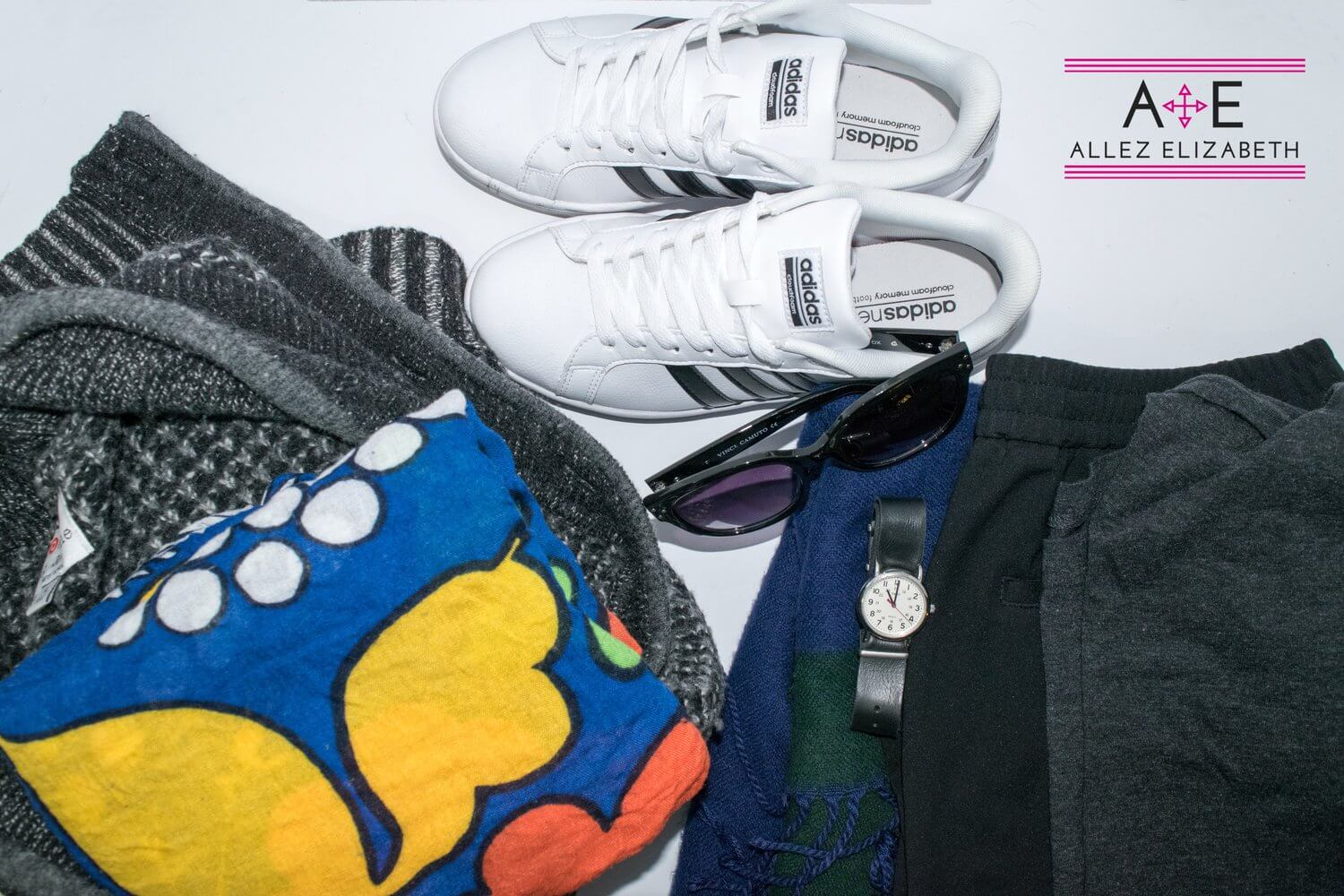 ALLEZ ELIZABETH - AIRPORT OUTFIT FLATLAY ADIDAS SHOES, GRAY CARDIGAN, COLORFUL SCARF, SUNNIES, WATCH, PONTE PANTS AND A LONG SLEEVE TEE