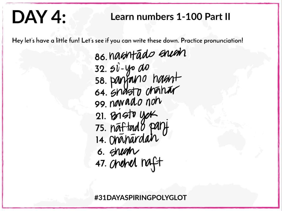 AE - DAY 4 - 31 DAY ASPIRING POLYGLOT - NUMBERS WORKSHEET