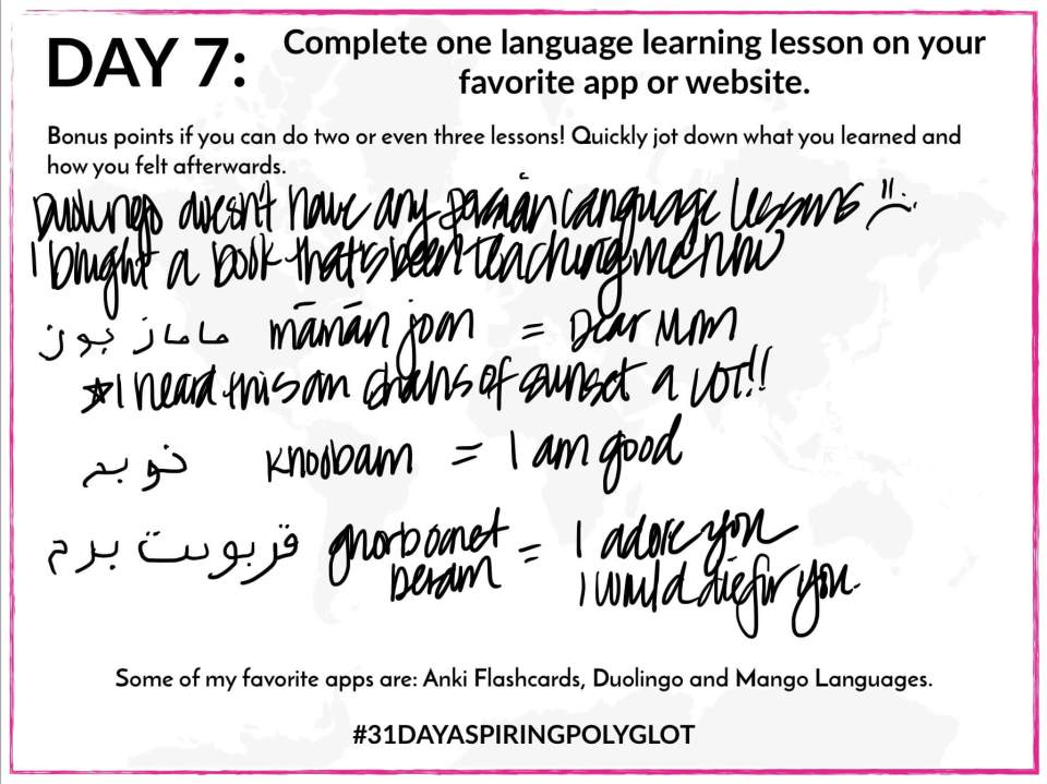 AE - DAY 7 - WORKSHEET - 31 DAY ASPIRING POLYGLOT