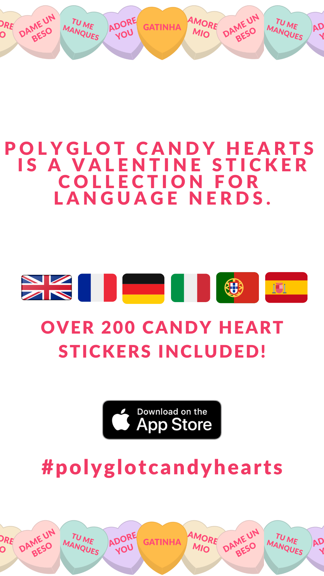 POLYGLOT CANDY HEARTS FOR iOS VALENTINES FOR LANGUAGE NERDS