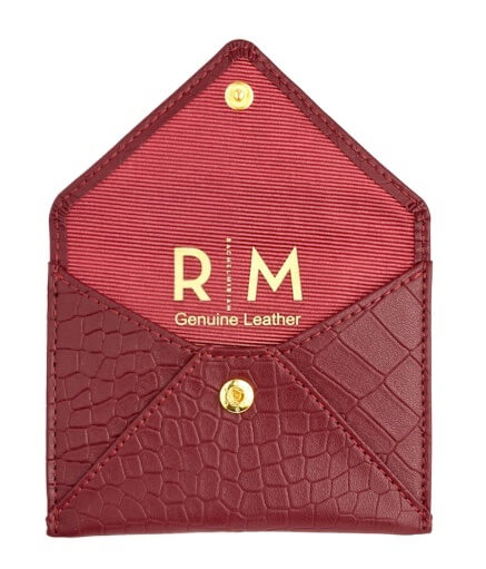 PICTURE OF LEATHER BUSINESS CARD HOLDER IN RED CROC.