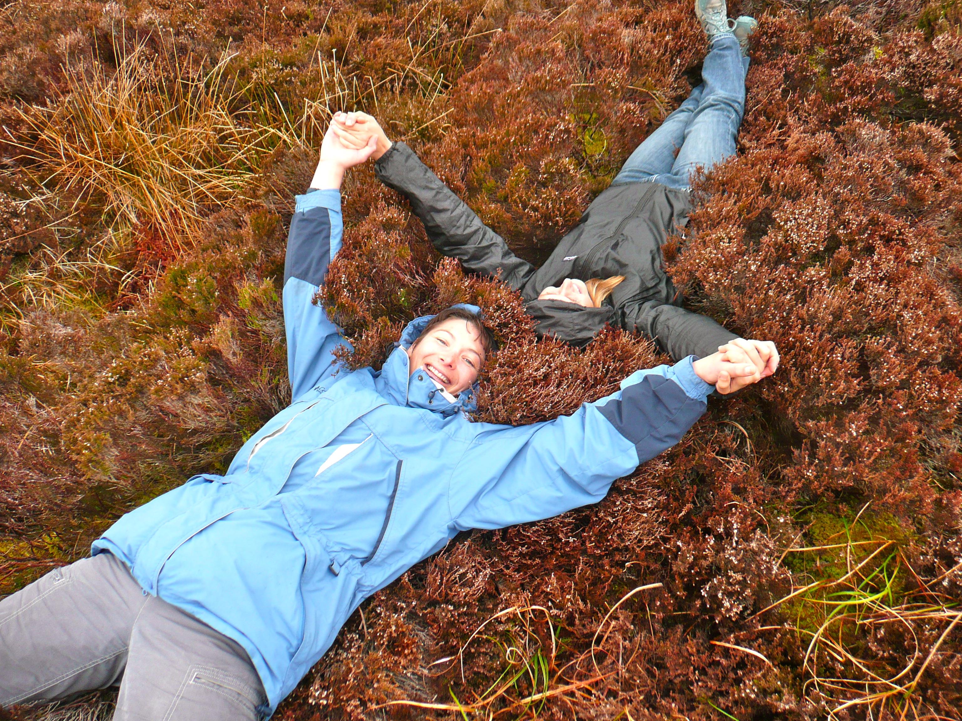 Two women in a field of heather