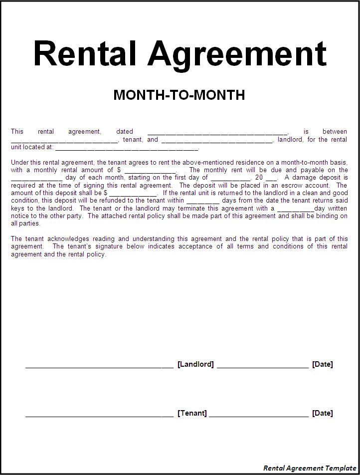 Great Sample Of Rental Agreements To Lease Agreement Template Word