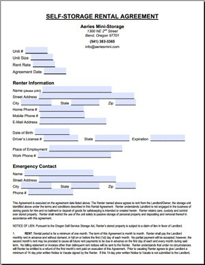 Storage Lease Agreement Template