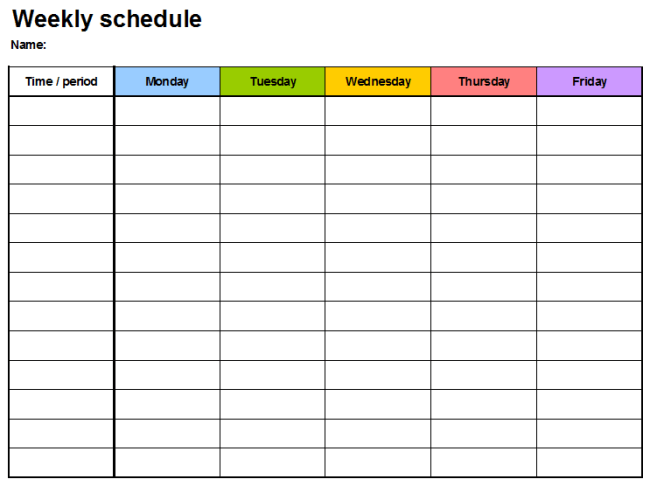 Weekly Planner Template 15 Samples Of Schedule Calendar All Form