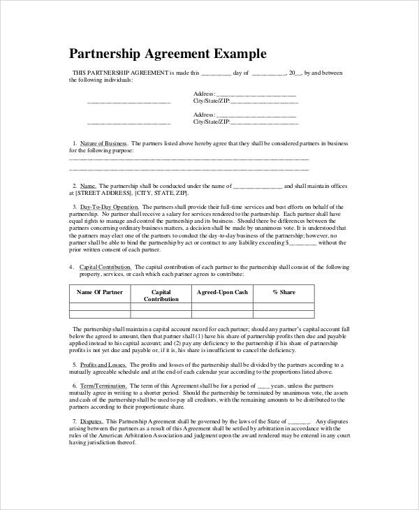 Basic Partnership Agreement Template
