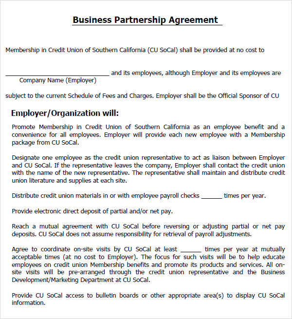 Partnership Agreement Templates and Tips, Business Partnership ...