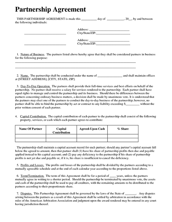 Partnership Agreement Templates  Agreement Templates