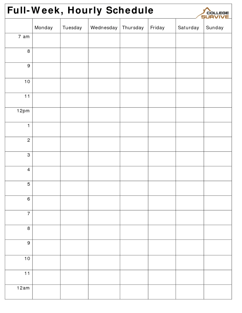 Hourly work schedule
