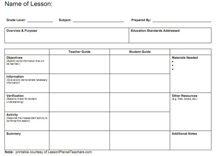 Free Lesson Plan Templates Word Pdf Format Download  All Form