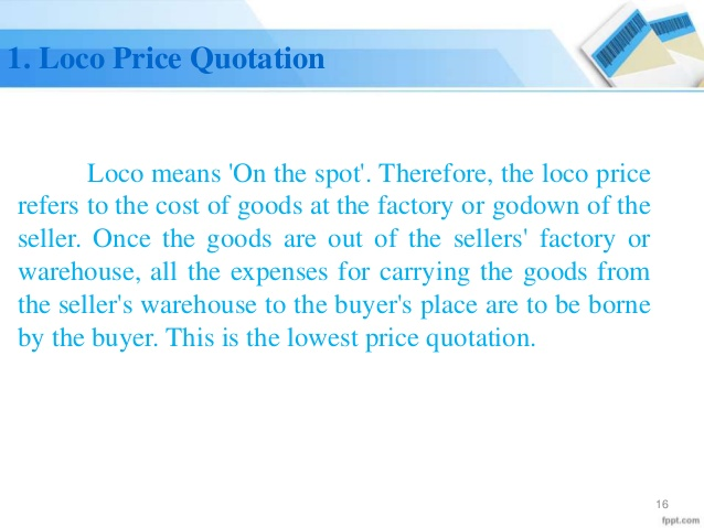 loco Price Quotation template