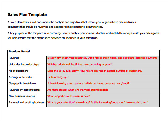 Free Sales Plan Templates Samples Formats Examples - Business sales plan template