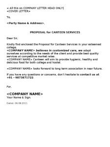 catering business proposal letter - Business Proposal Letter
