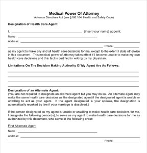 Medical power of attorney template