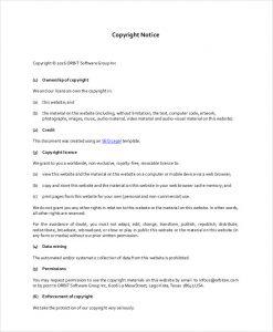 Website Copyright Example