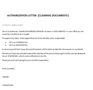 Authorization Letter Sample To Process Documents