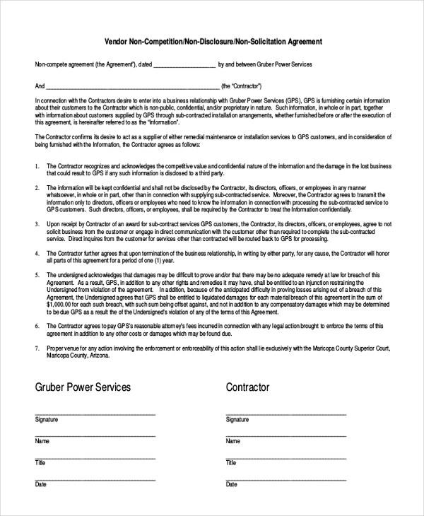 Awesome Contractor Non Compete Agreement Template