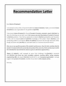 Letter of recommendation for student