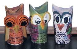 paper roll owl trio
