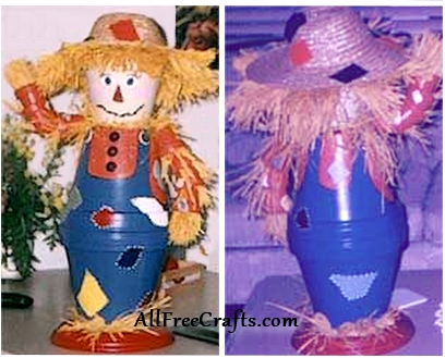 front and back view of a homemade clay pot scarecrow